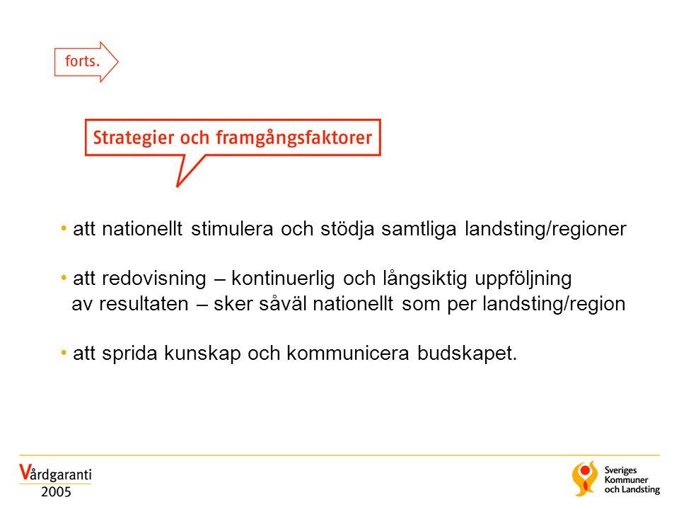 att nationellt stimulera och stödja samtliga landsting/regioner att redovisning – kontinuerlig och långsiktig uppföljning av resultaten – sker såväl n