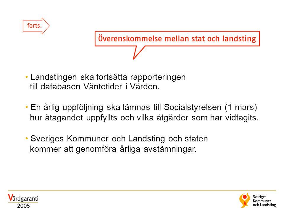 Landstingen ska fortsätta rapporteringen till databasen Väntetider i Vården. En årlig uppföljning ska lämnas till Socialstyrelsen (1 mars) hur åtagand