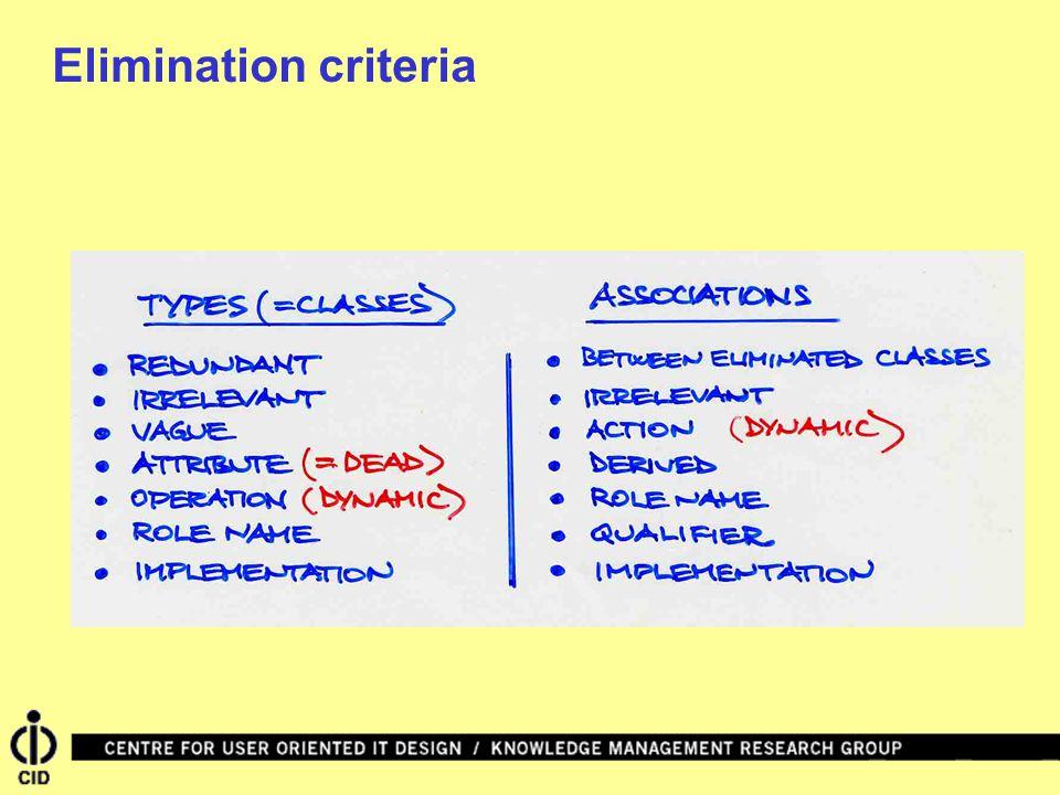 Elimination criteria