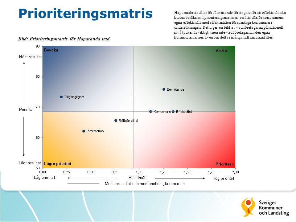 Prioriteringsmatris Bild: Prioriteringsmatris för Haparanda stad Haparanda stad har för få svarande företagare för att effektmått ska kunna beräknas.