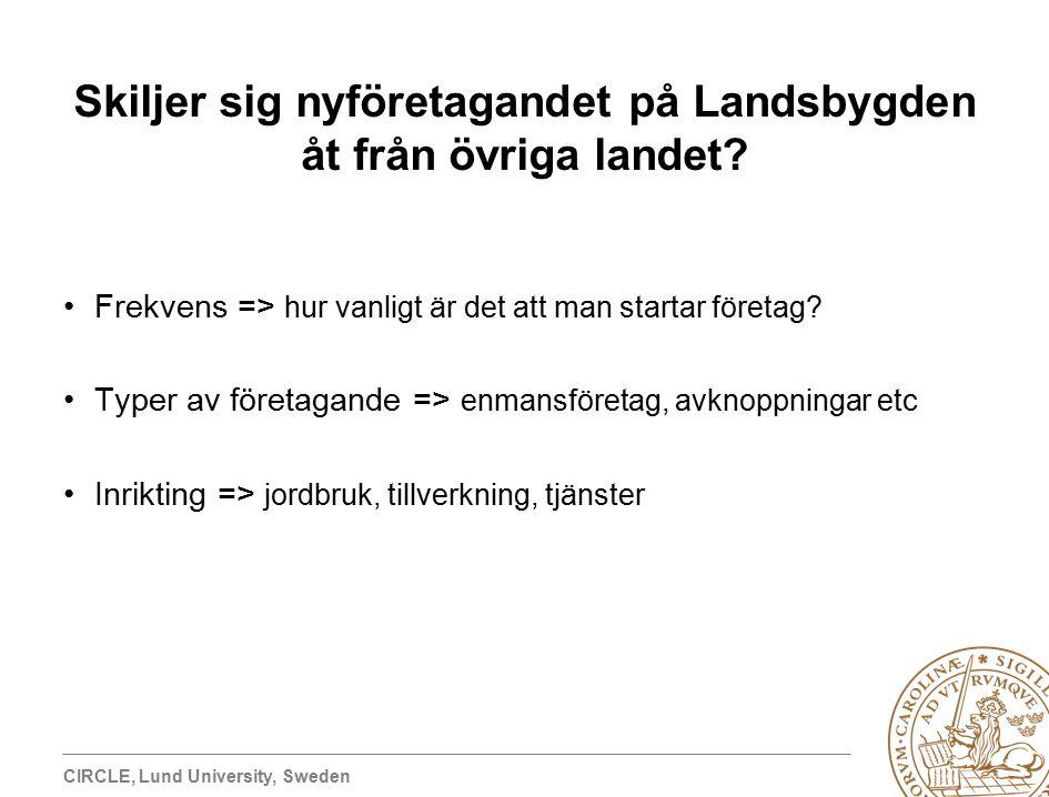 CIRCLE, Lund University, Sweden Skiljer sig nyföretagandet på Landsbygden åt från övriga landet.