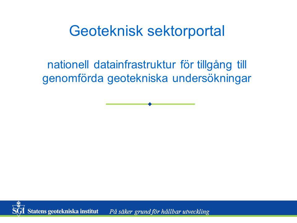 På säker grund för hållbar utveckling Geoteknisk sektorportal nationell datainfrastruktur för tillgång till genomförda geotekniska undersökningar