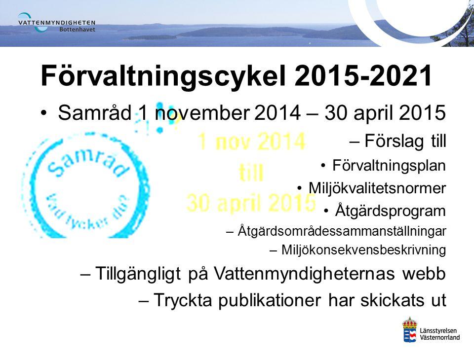 Förvaltningsplan Åtgärdsprogram inkl MKB Bilagor för 50 åtgärdsområden Åtgärdsområden 50 st åtgärdsområdes- sammanställningar Samrådshandlingar Miljökvalitets- normer www.vattenmyndigheterna.se