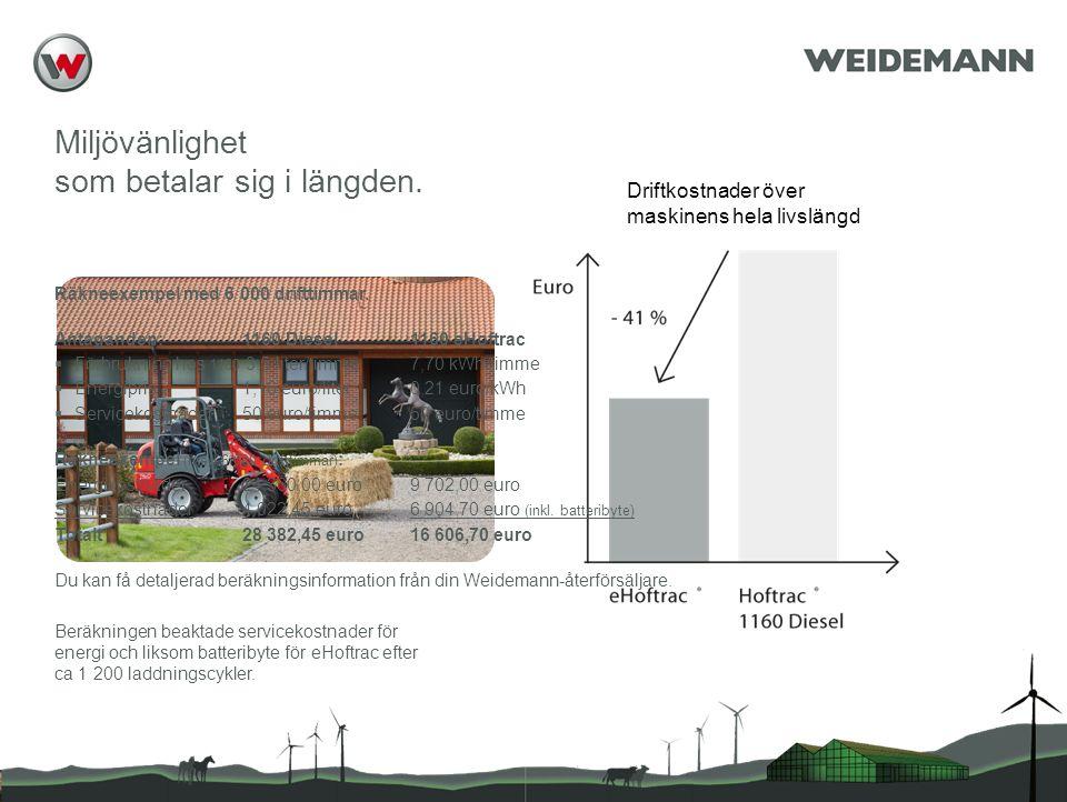 Reference (apr02) Miljövänlighet som betalar sig i längden. Beräkningen beaktade servicekostnader för energi och liksom batteribyte för eHoftrac efter