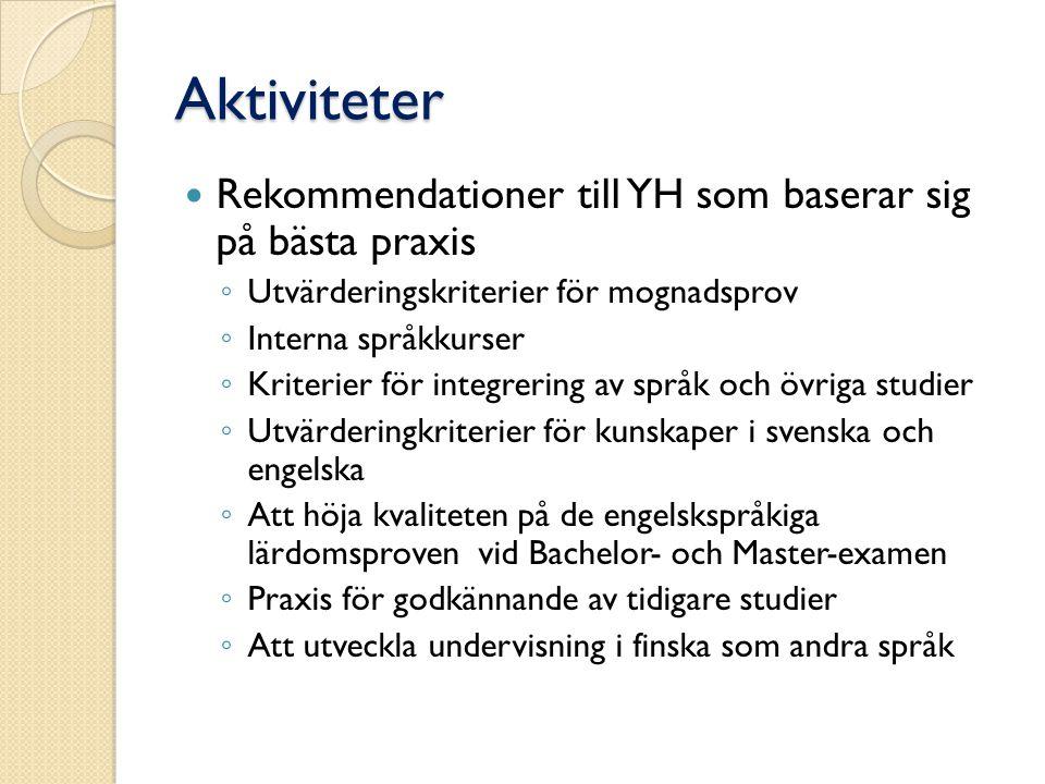 Aktiviteter Rekommendationer till YH som baserar sig på bästa praxis ◦ Utvärderingskriterier för mognadsprov ◦ Interna språkkurser ◦ Kriterier för int