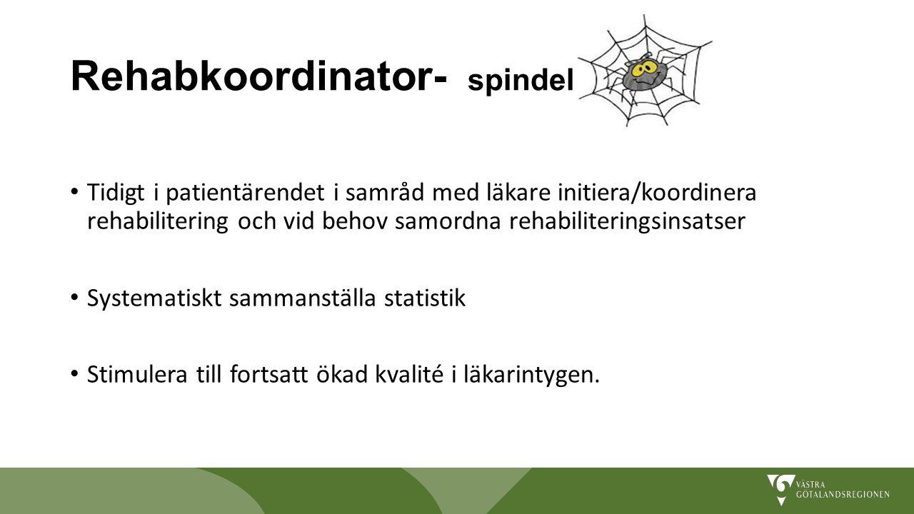 Rehabkoordinator- spindel i nätet Tidigt i patientärendet i samråd med läkare initiera/koordinera rehabilitering och vid behov samordna rehabilitering