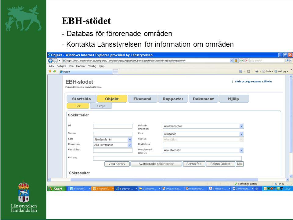 EBH-stödet - Databas för förorenade områden - Kontakta Länsstyrelsen för information om områden