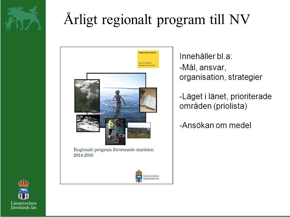 Årligt regionalt program till NV Innehåller bl.a: -Mål, ansvar, organisation, organisation, strategier -Läget i länet, prioriterade områden (priolista