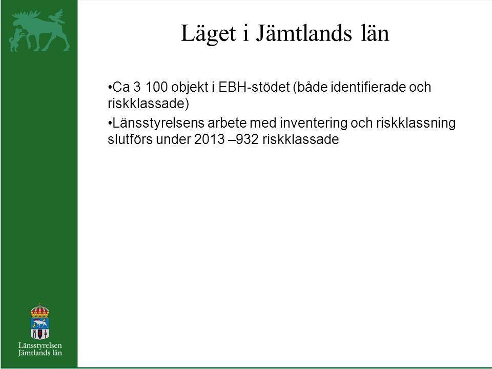 Läget i Jämtlands län Ca 3 100 objekt i EBH-stödet (både identifierade och riskklassade) Länsstyrelsens arbete med inventering och riskklassning slutf
