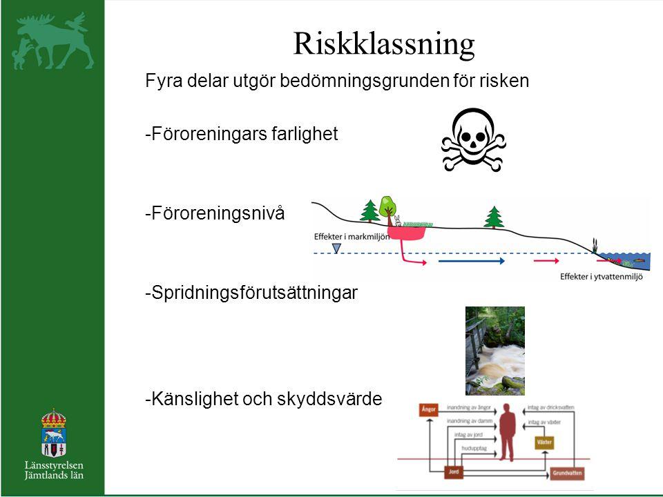 Riskklassning Fyra delar utgör bedömningsgrunden för risken -Föroreningars farlighet -Föroreningsnivå -Spridningsförutsättningar -Känslighet och skydd