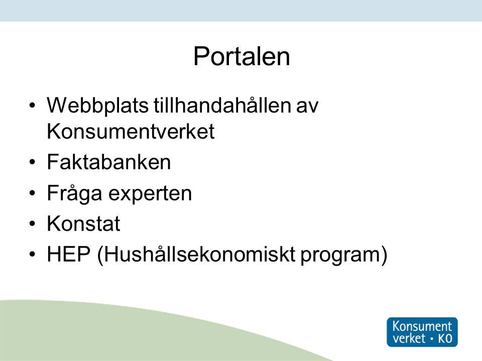 Portalen Webbplats tillhandahållen av Konsumentverket Faktabanken Fråga experten Konstat HEP (Hushållsekonomiskt program)