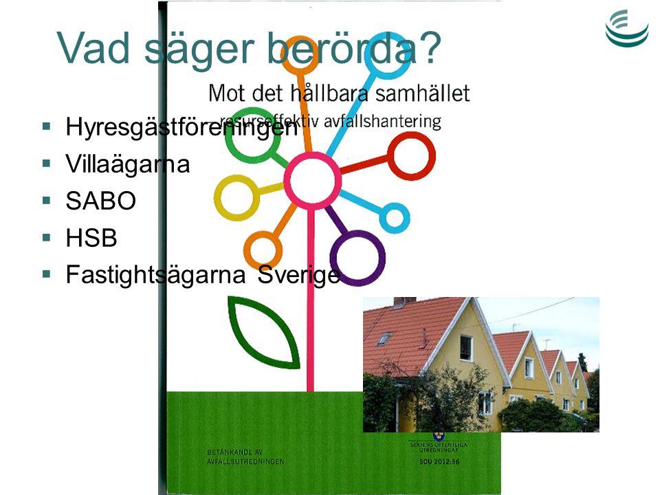 Vad säger berörda?  Hyresgästföreningen  Villaägarna  SABO  HSB  Fastightsägarna Sverige