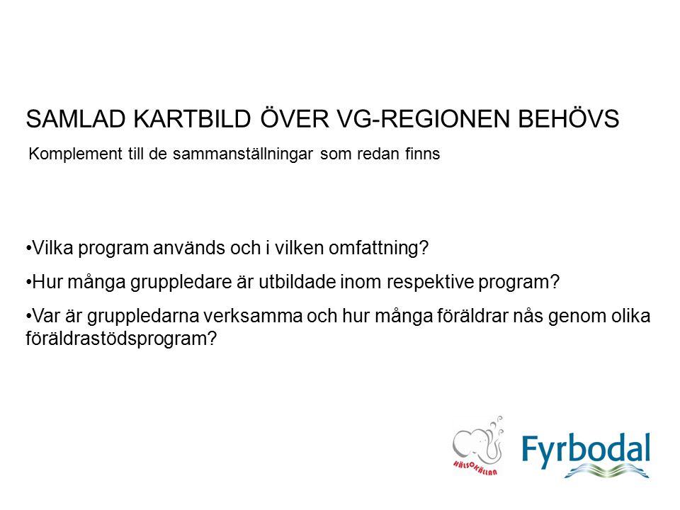SAMLAD KARTBILD ÖVER VG-REGIONEN BEHÖVS Komplement till de sammanställningar som redan finns Vilka program används och i vilken omfattning? Hur många