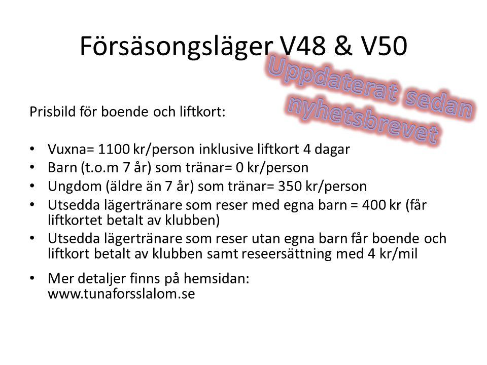 Försäsongsläger V48 & V50 Prisbild för boende och liftkort: Vuxna= 1100 kr/person inklusive liftkort 4 dagar Barn (t.o.m 7 år) som tränar= 0 kr/person