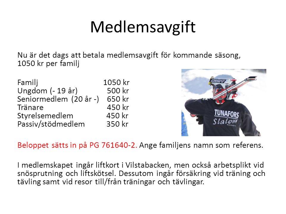 Medlemsavgift Nu är det dags att betala medlemsavgift för kommande säsong, 1050 kr per familj Familj 1050 kr Ungdom (- 19 år) 500 kr Seniormedlem (20