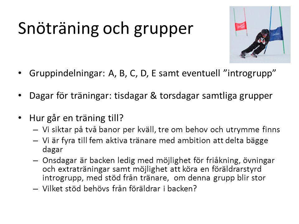 Snöträning och grupper Gruppindelningar: A, B, C, D, E samt eventuell introgrupp Dagar för träningar: tisdagar & torsdagar samtliga grupper Hur går en träning till.