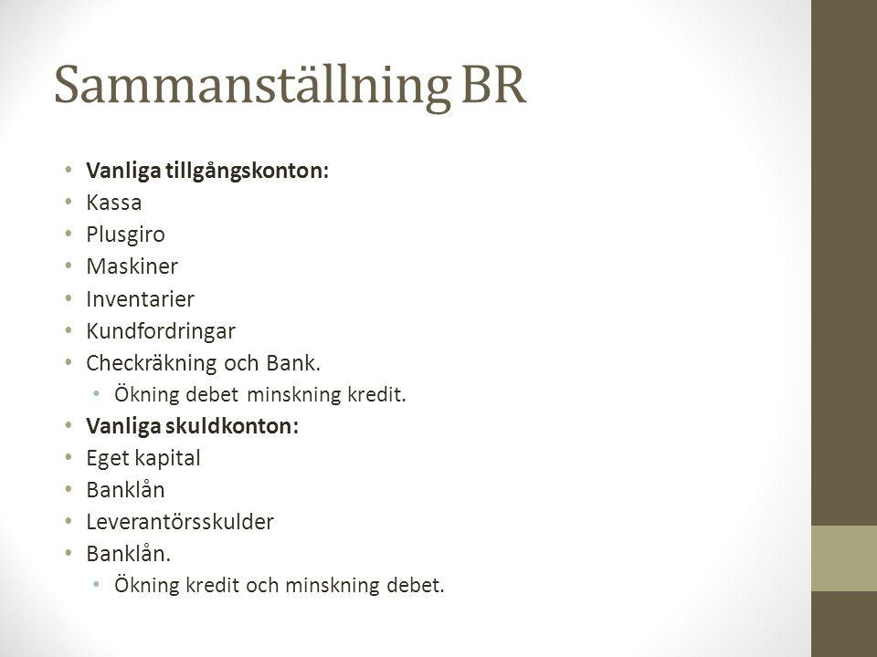 Sammanställning BR Vanliga tillgångskonton: Kassa Plusgiro Maskiner Inventarier Kundfordringar Checkräkning och Bank. Ökning debet minskning kredit. V