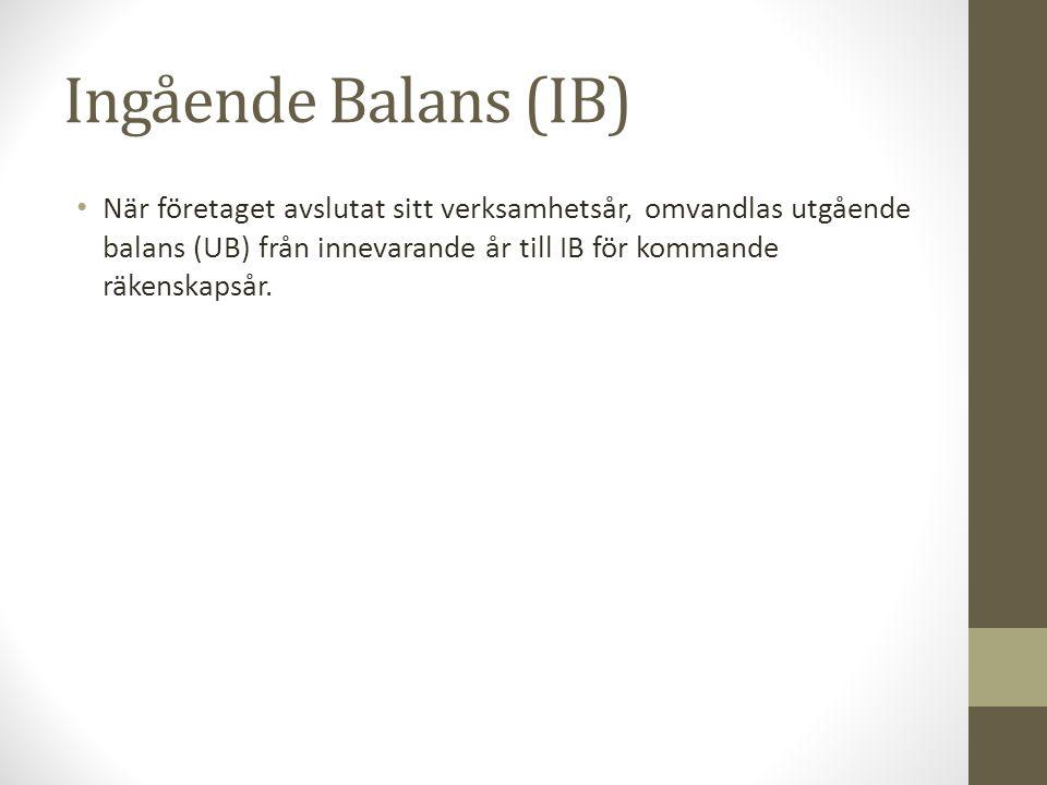Ingående Balans (IB) När företaget avslutat sitt verksamhetsår, omvandlas utgående balans (UB) från innevarande år till IB för kommande räkenskapsår.