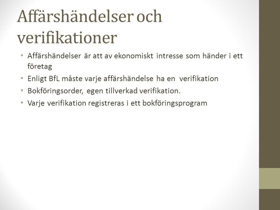 Affärshändelser och verifikationer Affärshändelser är att av ekonomiskt intresse som händer i ett företag Enligt BfL måste varje affärshändelse ha en verifikation Bokföringsorder, egen tillverkad verifikation.