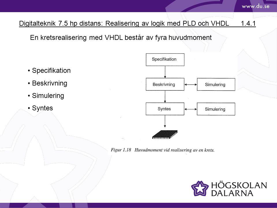 Digitalteknik 7.5 hp distans: Realisering av logik med PLD och VHDL1.4.1 En kretsrealisering med VHDL består av fyra huvudmoment Specifikation Beskrivning Simulering Syntes