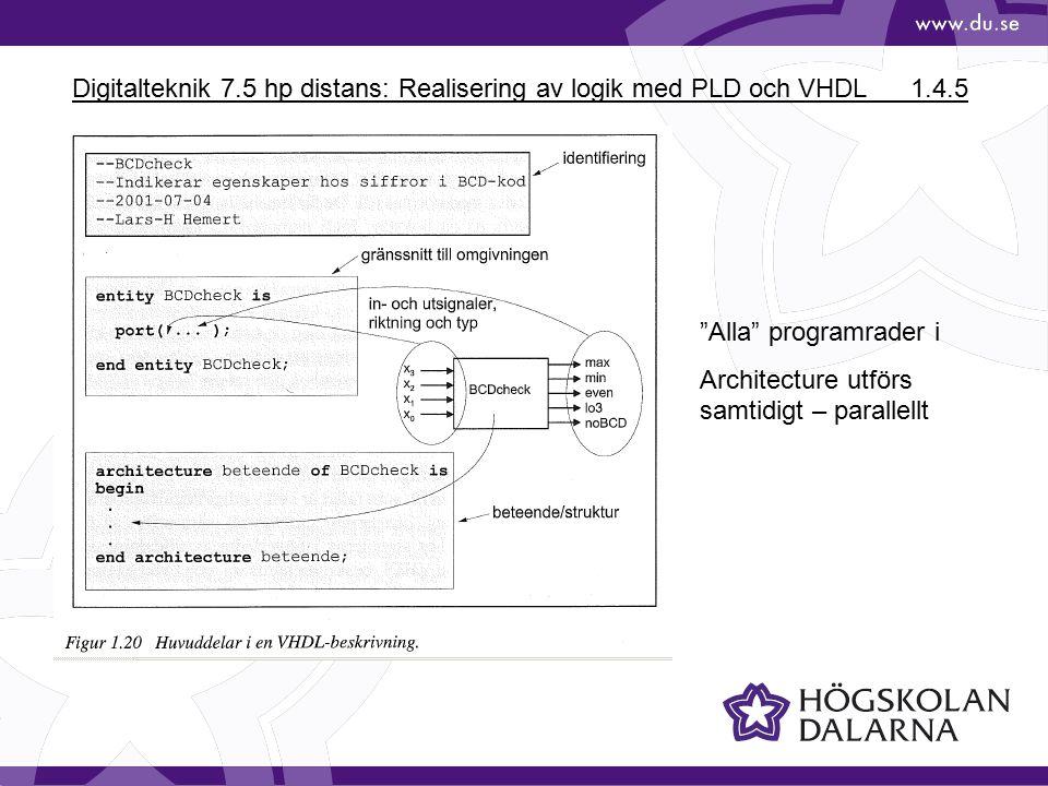 Digitalteknik 7.5 hp distans: Realisering av logik med PLD och VHDL1.4.5 Alla programrader i Architecture utförs samtidigt – parallellt
