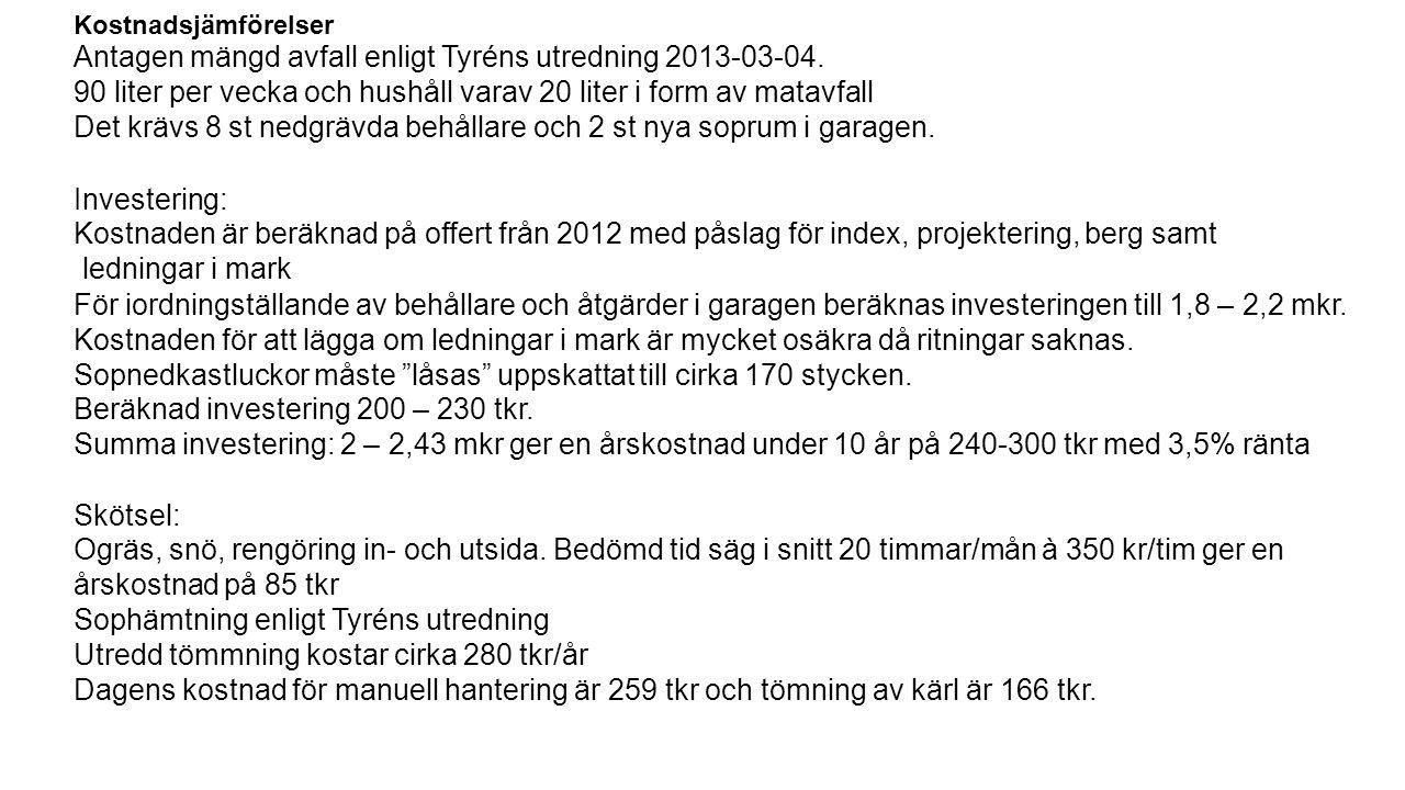 Kostnadsjämförelser Antagen mängd avfall enligt Tyréns utredning 2013-03-04.