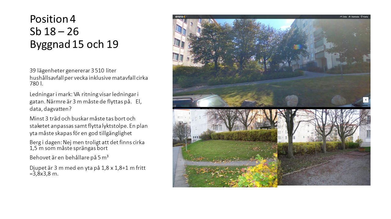 Position 4 Sb 18 – 26 Byggnad 15 och 19 39 lägenheter genererar 3 510 liter hushållsavfall per vecka inklusive matavfall cirka 780 l.