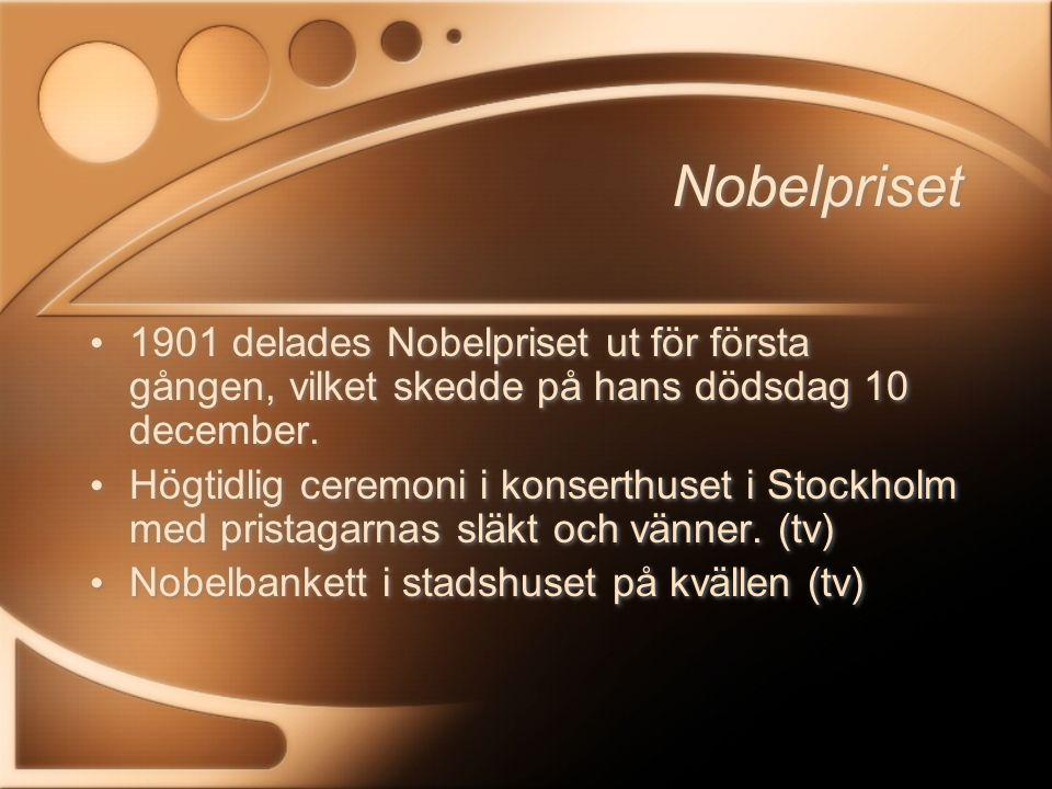 Fredspriset Delas ut i Oslo eftersom Sverige och Norge var i union (fram tom 1905) med gemensam kung då testamentet skrevs.