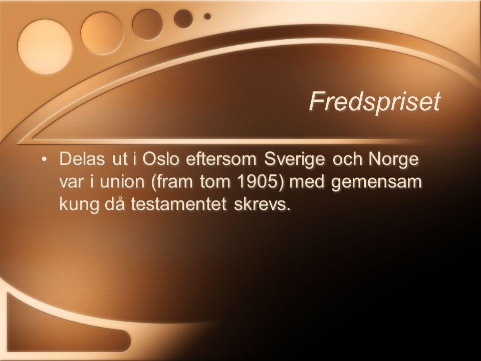 Ekonomipriset Tillkom 1968 till minne av Alfred Nobel Betalas av Riksbanken Tillkom 1968 till minne av Alfred Nobel Betalas av Riksbanken