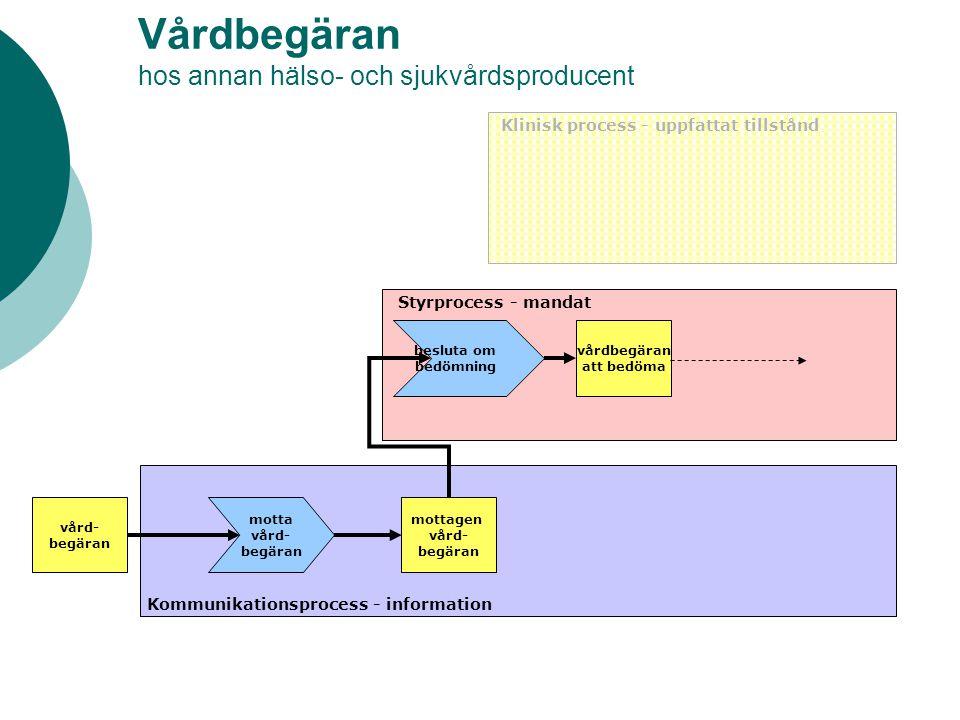 Vårdbegäran hos annan hälso- och sjukvårdsproducent vård- begäran Klinisk process - uppfattat tillstånd Styrprocess - mandat Kommunikationsprocess - i