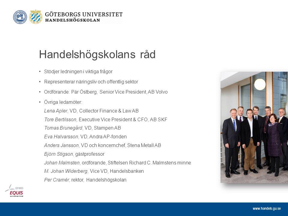 www.handels.gu.se Handelshögskolans råd Stödjer ledningen i viktiga frågor Representerar näringsliv och offentlig sektor Ordförande: Pär Östberg, Seni