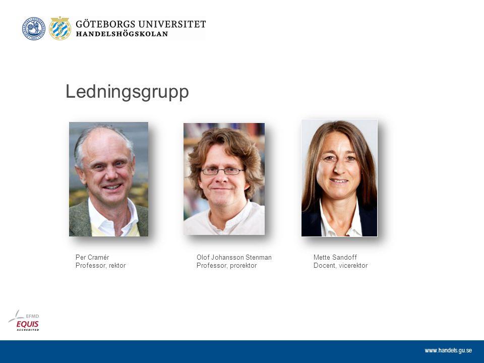 www.handels.gu.se Ledningsgrupp Olof Johansson Stenman Professor, prorektor Per Cramér Professor, rektor Mette Sandoff Docent, vicerektor