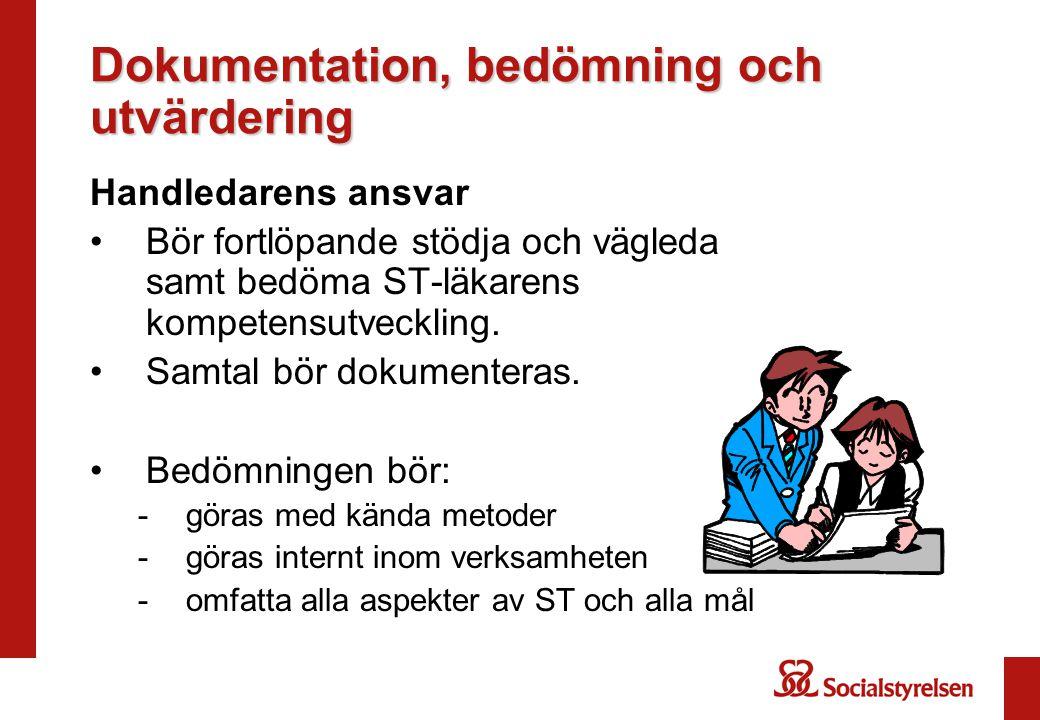 Dokumentation, bedömning och utvärdering Handledarens ansvar Bör fortlöpande stödja och vägleda samt bedöma ST-läkarens kompetensutveckling. Samtal bö