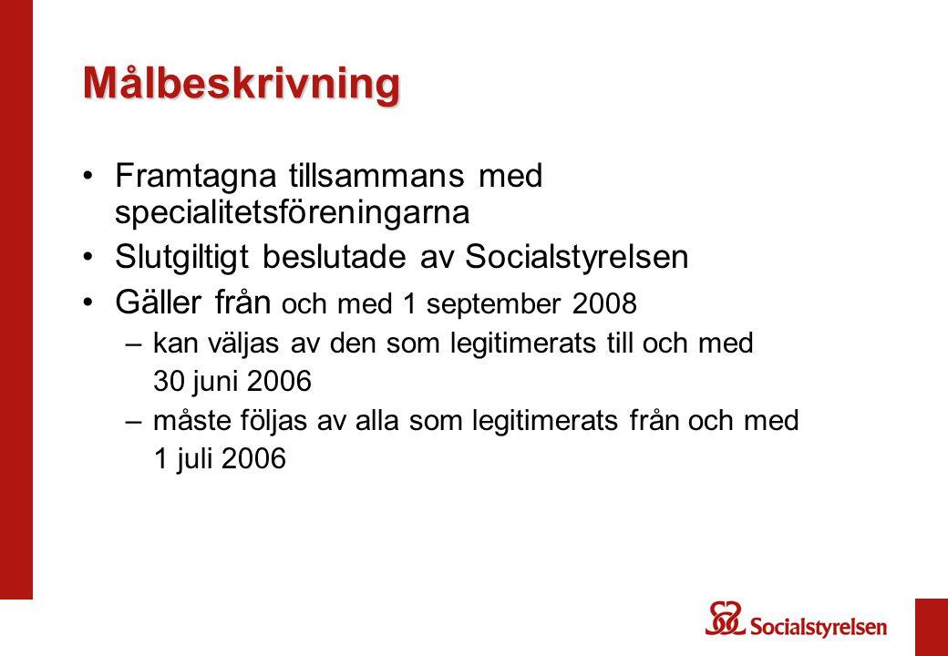 Målbeskrivning Framtagna tillsammans med specialitetsföreningarna Slutgiltigt beslutade av Socialstyrelsen Gäller från och med 1 september 2008 –kan v