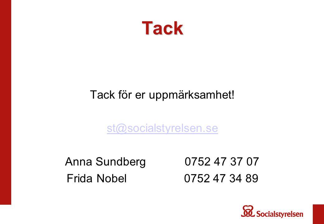 Tack Tack för er uppmärksamhet! st@socialstyrelsen.se Anna Sundberg 0752 47 37 07 Frida Nobel 0752 47 34 89