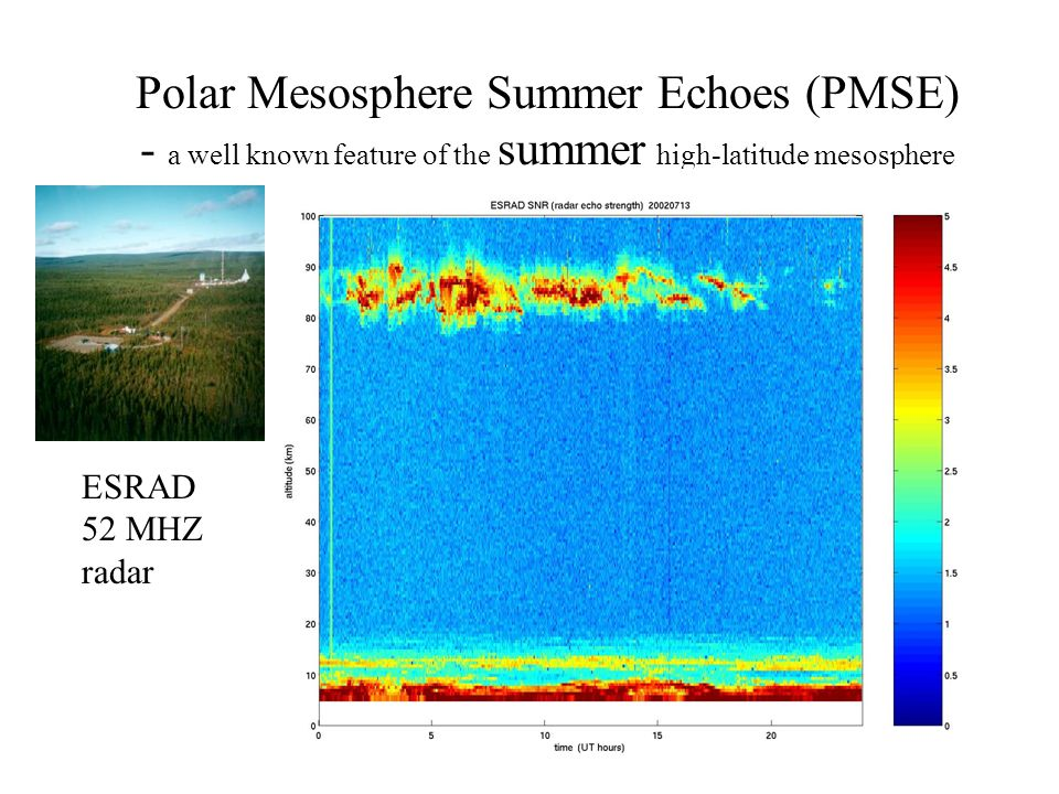 Polar Mesosphere Summer Echoes (PMSE) - a well known feature of the summer high-latitude mesosphere ESRAD 52 MHZ radar