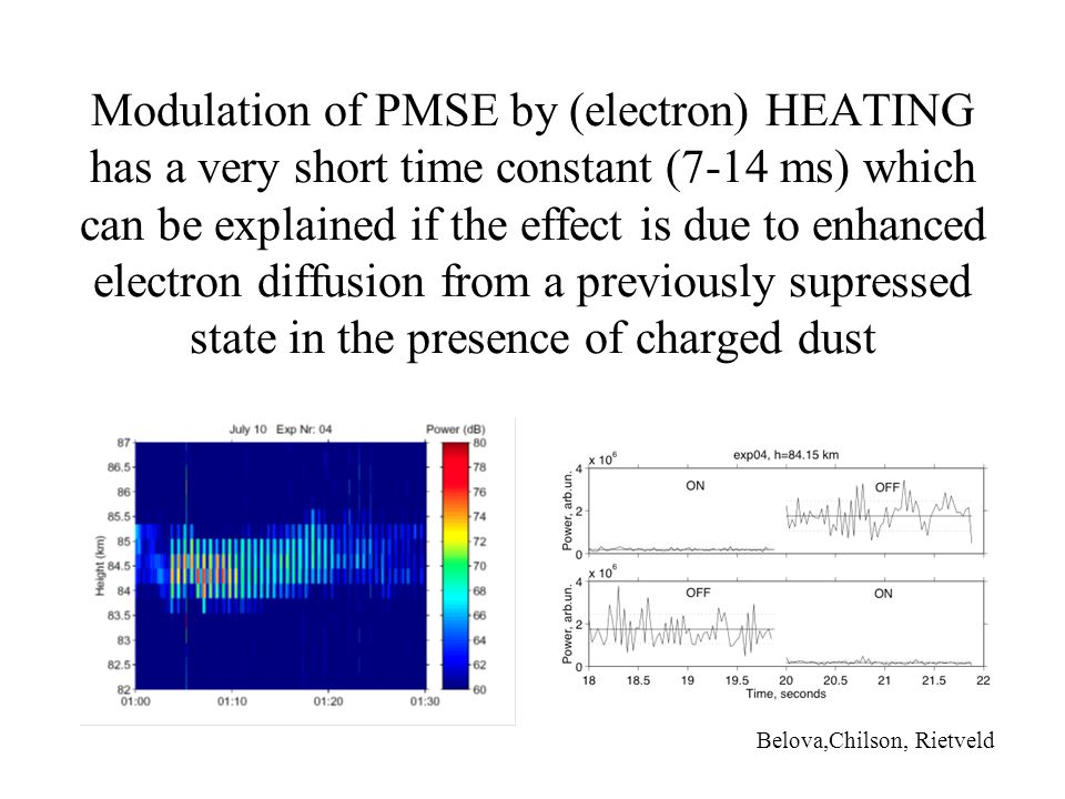 Modulation of PMSE by (electron) HEATING has a very short time constant (7-14 ms) which can be explained if the effect is due to enhanced electron diffusion from a previously supressed state in the presence of charged dust Belova,Chilson, Rietveld