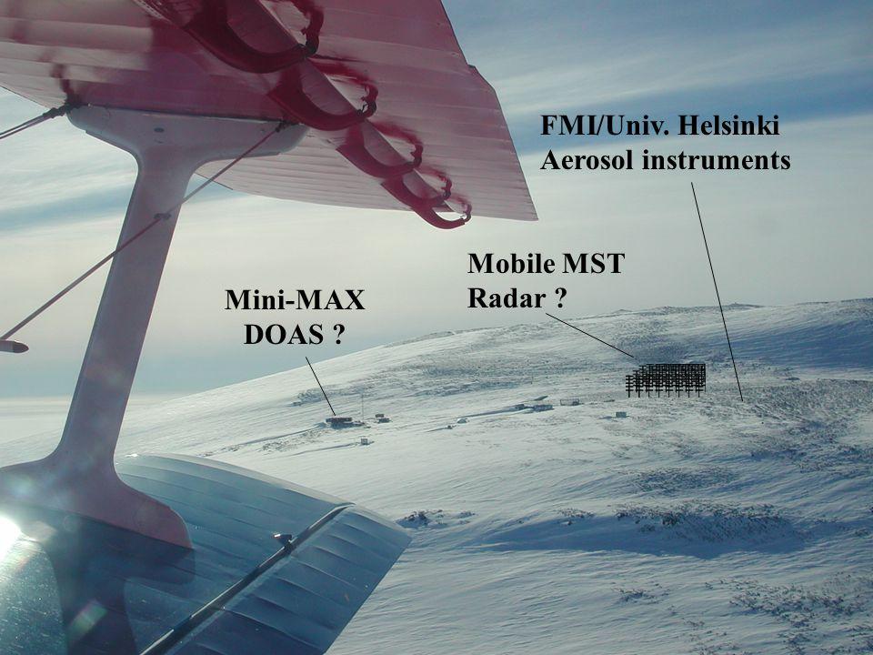 Mobile MST Radar ? FMI/Univ. Helsinki Aerosol instruments Mini-MAX DOAS ?