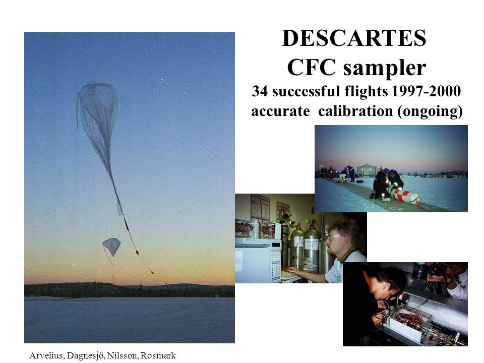 DESCARTES CFC sampler 34 successful flights 1997-2000 accurate calibration (ongoing) Arvelius, Dagnesjö, Nilsson, Rosmark