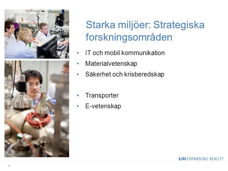 Starka miljöer: Strategiska forskningsområden IT och mobil kommunikation Materialvetenskap Säkerhet och krisberedskap Transporter E-vetenskap 2