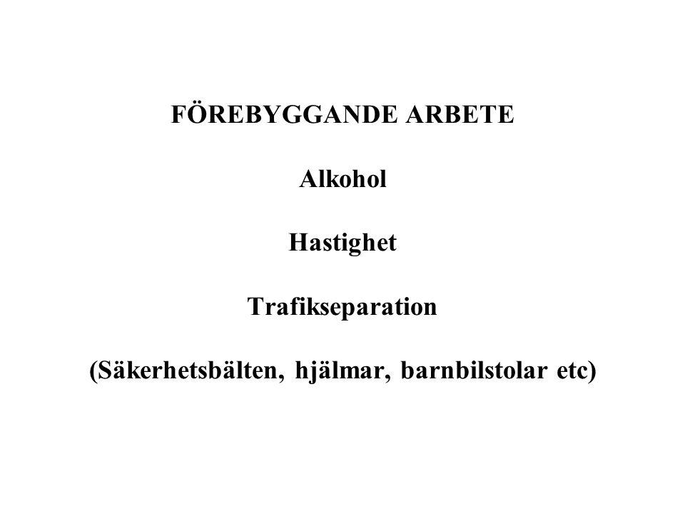 FÖREBYGGANDE ARBETE Alkohol Hastighet Trafikseparation (Säkerhetsbälten, hjälmar, barnbilstolar etc)