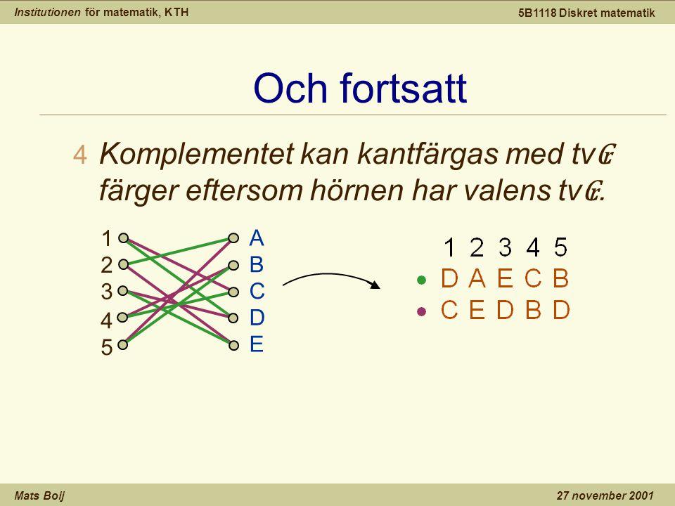 Institutionen för matematik, KTH Mats Boij 5B1118 Diskret matematik 27 november 2001 Och fortsatt 4 Komplementet kan kantfärgas med tv ₢ färger efters