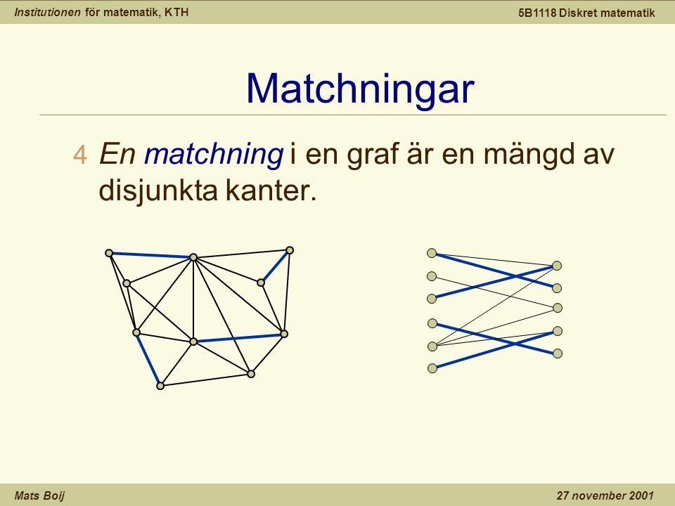 Institutionen för matematik, KTH Mats Boij 5B1118 Diskret matematik 27 november 2001 Matchningar 4 En matchning i en graf är en mängd av disjunkta kan