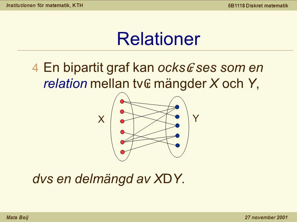 Institutionen för matematik, KTH Mats Boij 5B1118 Diskret matematik 27 november 2001 Relationer 4 En bipartit graf kan ocks ₢ ses som en relation mell