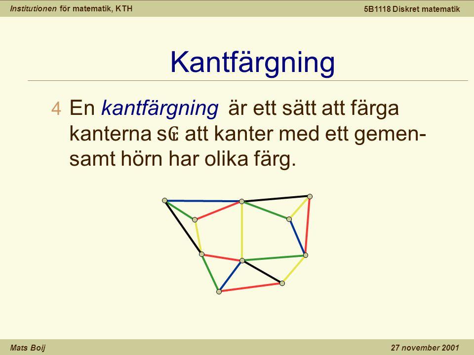 Institutionen för matematik, KTH Mats Boij 5B1118 Diskret matematik 27 november 2001 Kantfärgning 4 En kantfärgning är ett sätt att färga kanterna s ₢