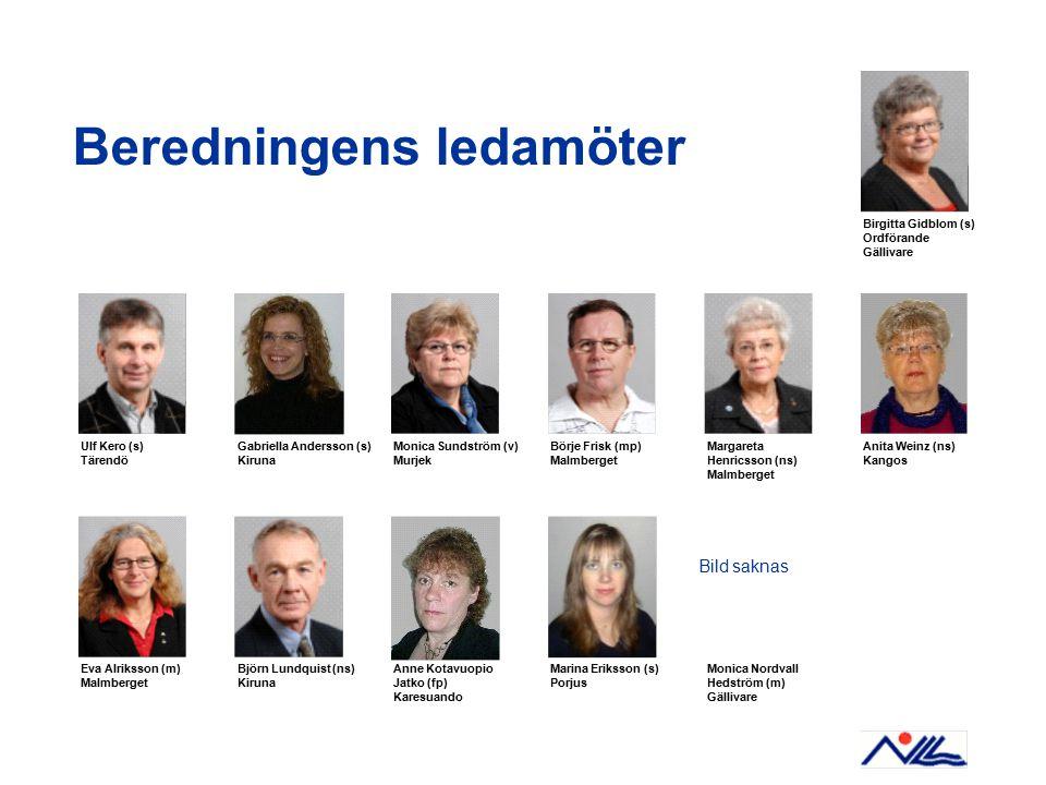 Beredningens ledamöter Ulf Kero (s) Tärendö Gabriella Andersson (s) Kiruna Birgitta Gidblom (s) Ordförande Gällivare Monica Sundström (v) Murjek Börje