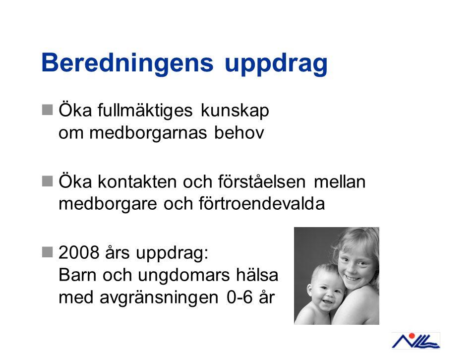 Beredningens uppdrag Öka fullmäktiges kunskap om medborgarnas behov Öka kontakten och förståelsen mellan medborgare och förtroendevalda 2008 års uppdr