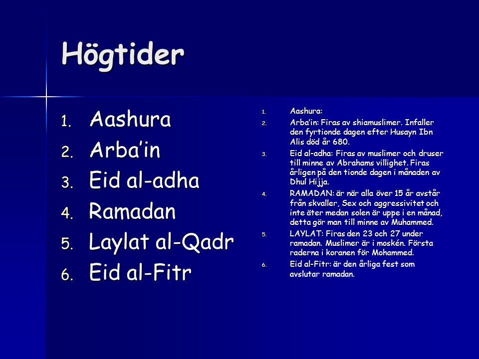 Högtider 1. Aashura 2. Arba'in 3. Eid al-adha 4. Ramadan 5. Laylat al-Qadr 6. Eid al-Fitr 1. Aashura: 2. Arba'in: Firas av shiamuslimer. Infaller den