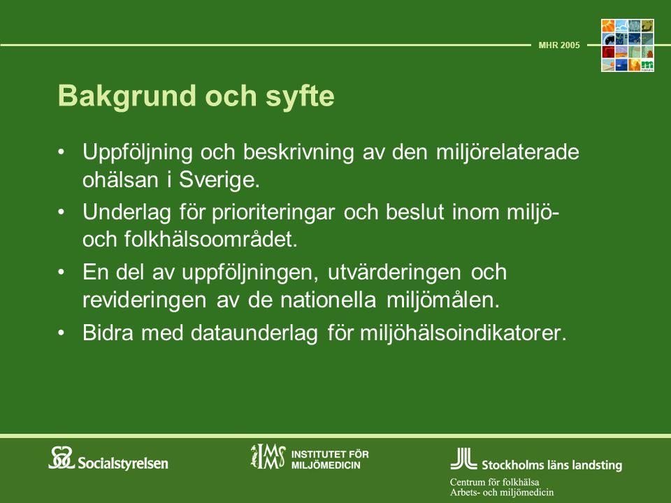 Bakgrund och syfte Uppföljning och beskrivning av den miljörelaterade ohälsan i Sverige. Underlag för prioriteringar och beslut inom miljö- och folkhä