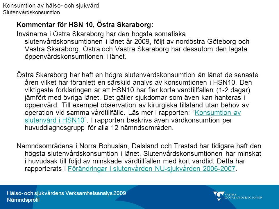 Hälso- och sjukvårdens Verksamhetsanalys 2009 Nämndsprofil Kommentar för HSN 10, Östra Skaraborg: Invånarna i Östra Skaraborg har den högsta somatiska slutenvårdskonsumtionen i länet år 2009, följt av nordöstra Göteborg och Västra Skaraborg.